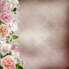 Border of flowers with lace on vintage background