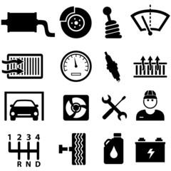Car repair and mechanic icons