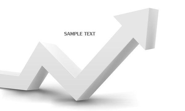 3d white arrow graph