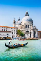 Wall Mural - Gondola on Canal Grande with Santa Maria della Salute, Venice