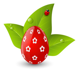 Easter egg with green leaves