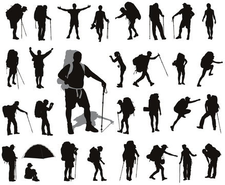 People with backpack detailed vector silhouettes set. EPS 8