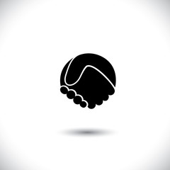 Concept vector graphic icon - abstract hand shake silhouette