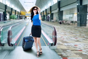 Beautiful woman on the airport