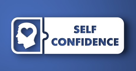 Self Confidence on Blue Background in Flat Design.