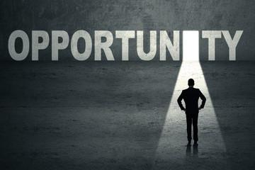 Businessman looking at opportunity door