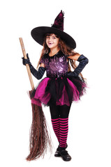 smiling halloween witch holding broom