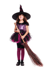 halloween witch holding broom isolated on white full length