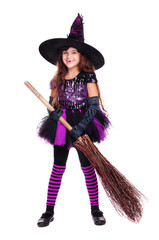halloween witch holding broom isolated on white