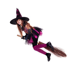 halloween witch flying on the broom