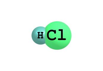 Hydrogen chloride molecular structure on white
