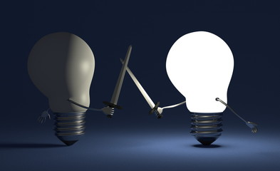 Glowing light bulb fighting against switched off one on blue