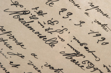 vintage handwriting with a text. grunge paper