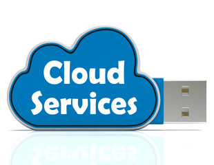 Cloud Services Memory Stick Shows Internet File Backup And Shari