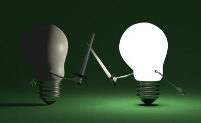 Glowing light bulb fighting against switched off one on green