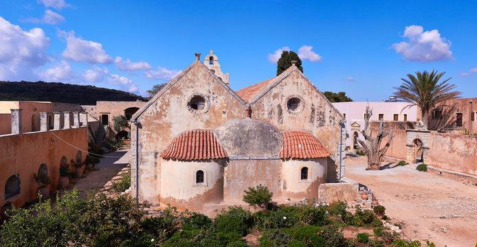 Monastery Arkadi orthodox church in Crete, Greece.