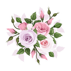 Roses and lisianthus flowers. Vector illustration.