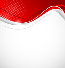 Abstract wavy background in red color