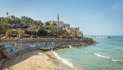 Fototapete - View of Jaffa from the Tel Aviv Promenade