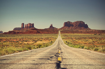Highway 163 Monument Valley, vintage style, Arizona, Utah, USA