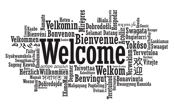 Welcome Word Cloud illustration in vector format