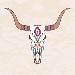Vector illustration of bull skull