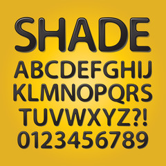Abstract Rounded Black Shade Font and Numbers, Eps 10 Vector Edi