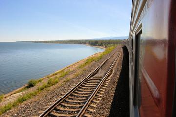 Trans Siberian Railway train, Baikal lake, Russia