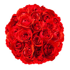 Red Roses Arranged in a Rounded Bouquet