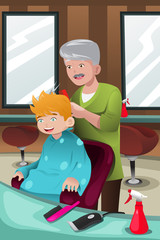 Kid getting a haircut