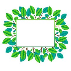 Vector square frame of branches and leafs. Eco concept. Nature b