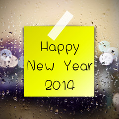 Happy New Year with water drops background with copy space