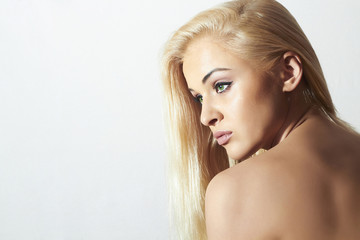 Sad Beautiful Woman.Beauty Sexy Blond Girl.Your Text Here