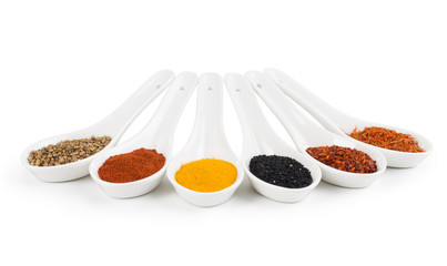 Collection of spices in spoon