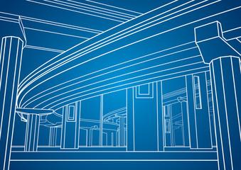 Vector lines overpass, vector bridge, vector design