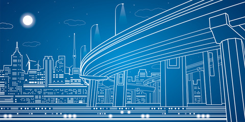 Night city, vector town, vector lines overpass, bridge, design