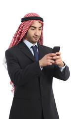 Arab saudi emirates business man using a smartphone