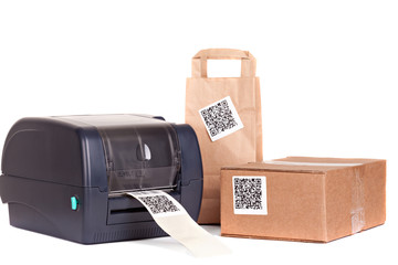 Wall Mural - .barcode printer and packaging boxes marked with a bar code