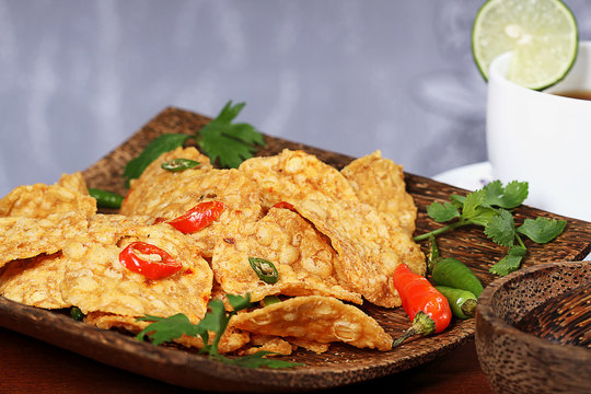 crispy fried and spicy tempeh, Indonesian food