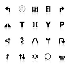 Traffic sign icons with reflect on white background