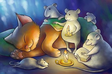 mice read a book to a kitten at the night
