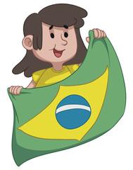 Girl Holding a Brazilian Flag