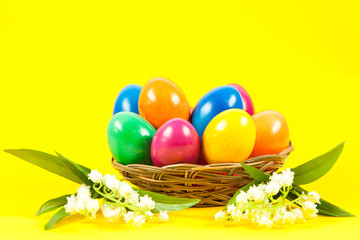 ester eggs in basket