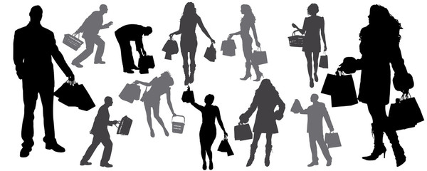 vector silhouette of shoping
