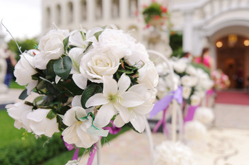 White Roses on Stand