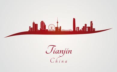 Tianjin skyline in red Papier Peint