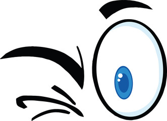 Winking Cartoon Eyes  Illustration Isolated on white