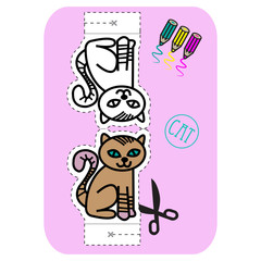 Coloring, Cut Out And Fold The Cat.