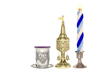 Havdalah set.Wine cup,gold spice box,braided candle.Horizontal