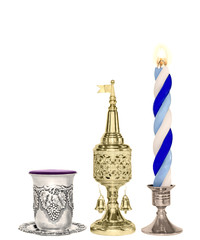 Havdalah set. Silver wine cup, gold spice box, braided candle.